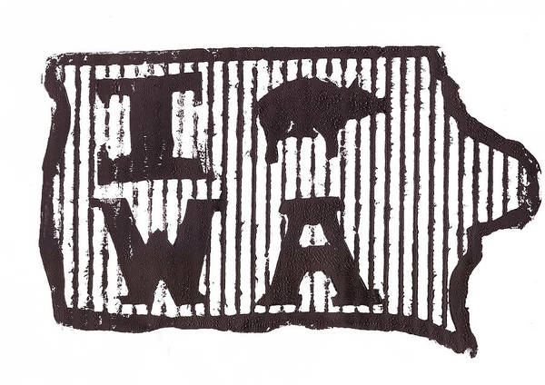 Iowa Poster featuring the drawing I Pig W A by Jame Hayes