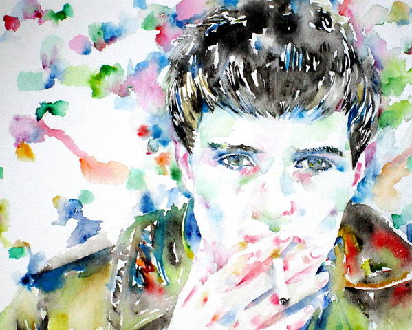 Ian Poster featuring the painting Ian Curtis Smoking Cigarette Watercolor Portrait by Fabrizio Cassetta