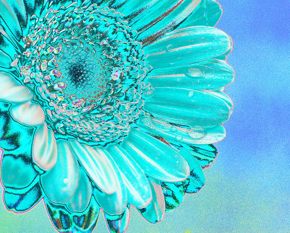 Blue Poster featuring the digital art Ice Blue by Carol Lynch
