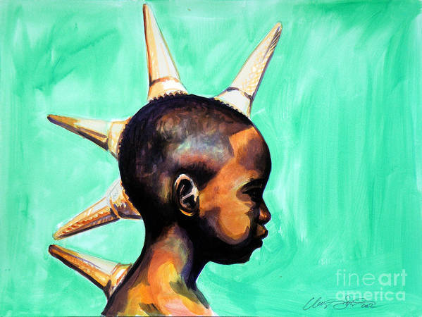 African American Boy Green Profile Turned To The Side Ice Cream Warrior Clayton Singleton Fun Kids Room Black Poster featuring the painting Ice Cream Warrior by Clayton Singleton