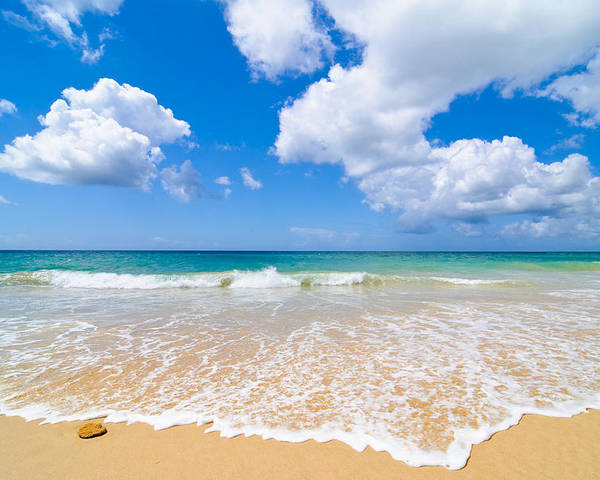 Beach Poster featuring the photograph Idyllic Summer Beach Algarve Portugal by Amanda Elwell