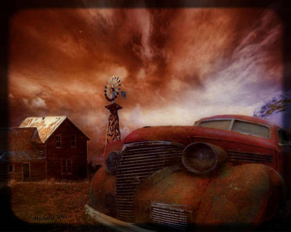 Rusty Car Artwork Poster featuring the digital art If Rust Could Talk by Wishes and Whims Originals By Michelle Jensen