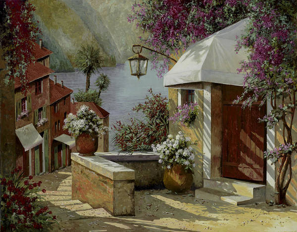 Lakescape Poster featuring the painting Il Lampione Oltre La Tenda by Guido Borelli