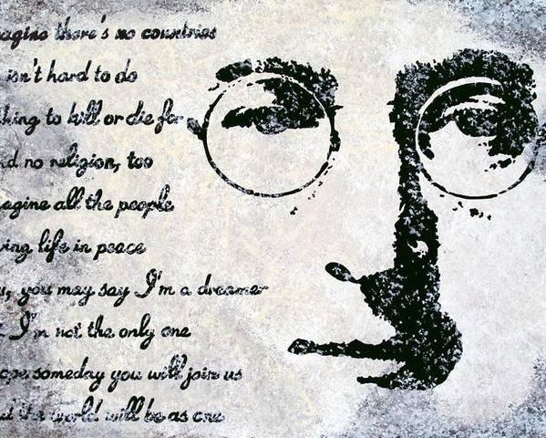 John Lennon Poster featuring the painting Imagine-john Lennon by Bryan Dubreuiel