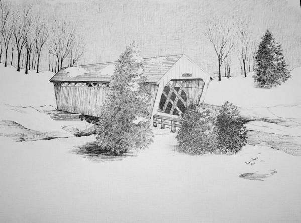 Imes Bridge In Iowa Poster featuring the drawing Imes Snow Bridge by Tammie Temple