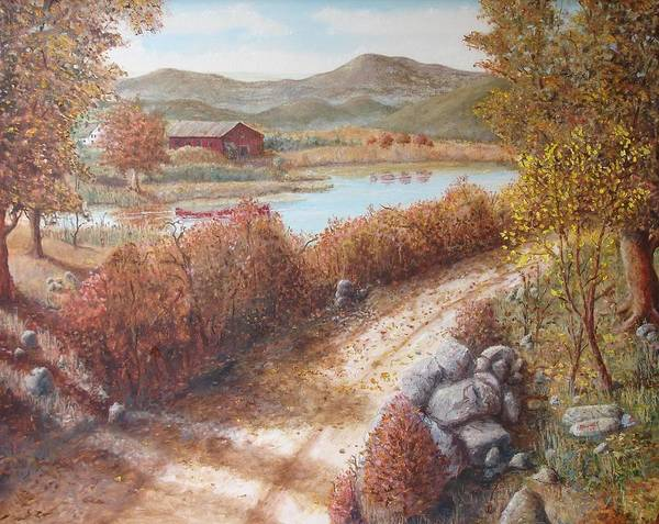 Barn Farm Country Road Fall Trees Rocks Lake Pond Water Mountains Poster featuring the painting In Memory Of The Trees by Ronald Barnes