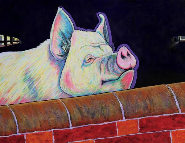 Pig Poster featuring the painting In My Mind I'm Gone to Carolina by Joe Triano