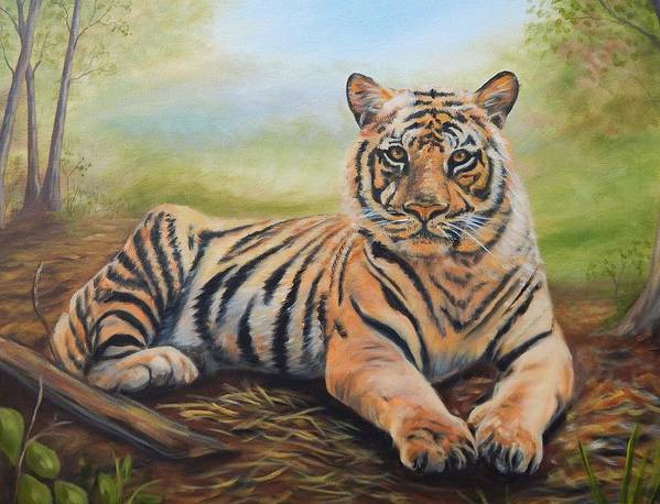 Tiger Poster featuring the painting In Repose by Anne Kushnick