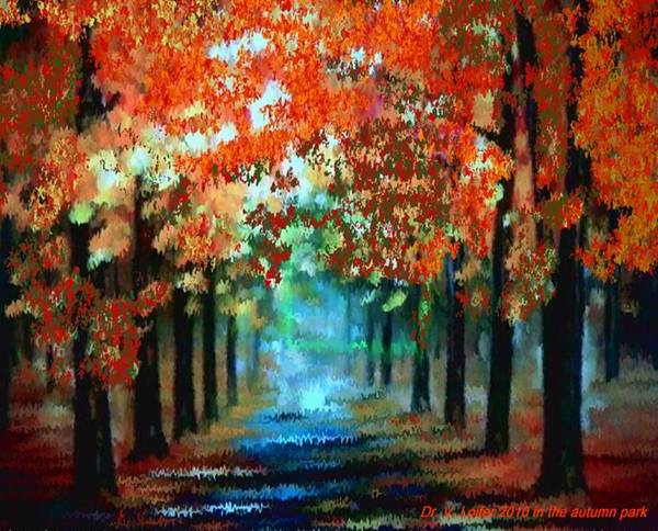 Landscape Poster featuring the digital art In the autumn park by Dr Loifer Vladimir