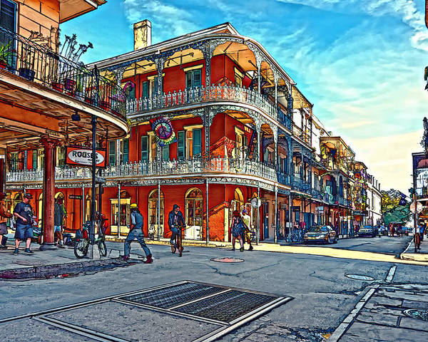 French Quarter Poster featuring the photograph In The French Quarter Painted by Steve Harrington