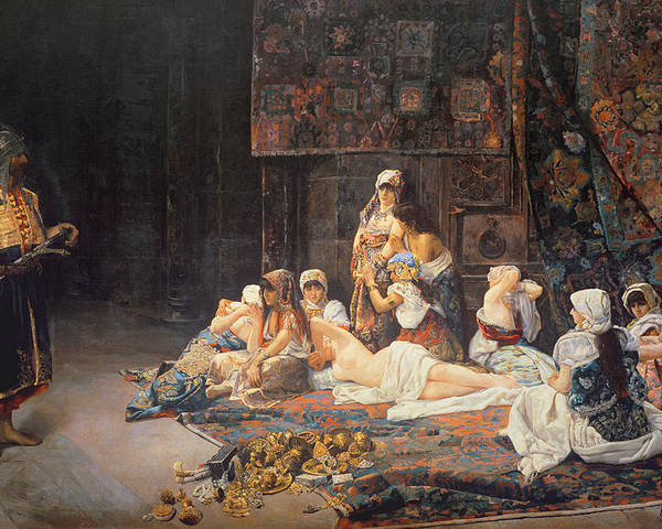 Au Serail Poster featuring the painting In The Harem by Jose Gallegos Arnosa