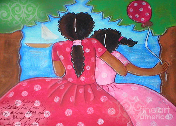 Woman Poster featuring the mixed media in the park by the sea by Elaine Jackson by Elaine Jackson