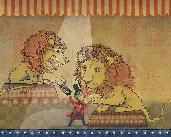Lion Poster featuring the digital art In Training by Dennis Wunsch