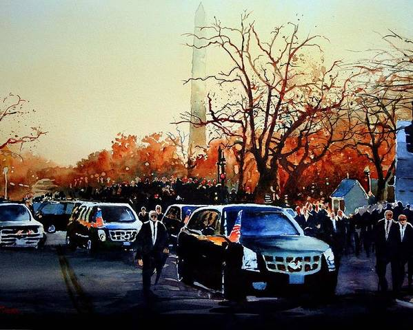 Presidential Inaugural Parade In Washington Dc -president Barrack Obama On Pennsylvania Ave Poster featuring the painting Inaugural by Ron Bigony