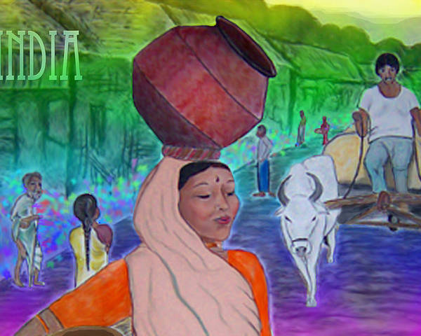 India Poster featuring the digital art India by Karen R Scoville