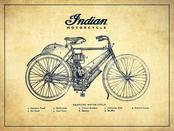 Indian Motorbike Poster featuring the digital art Indian Motorcycle - Vintage by Aged Pixel