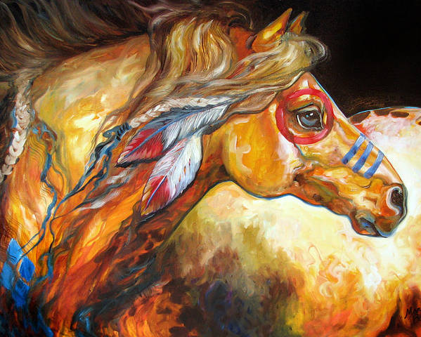 Horse Poster featuring the painting Indian War Horse Golden Sun by Marcia Baldwin