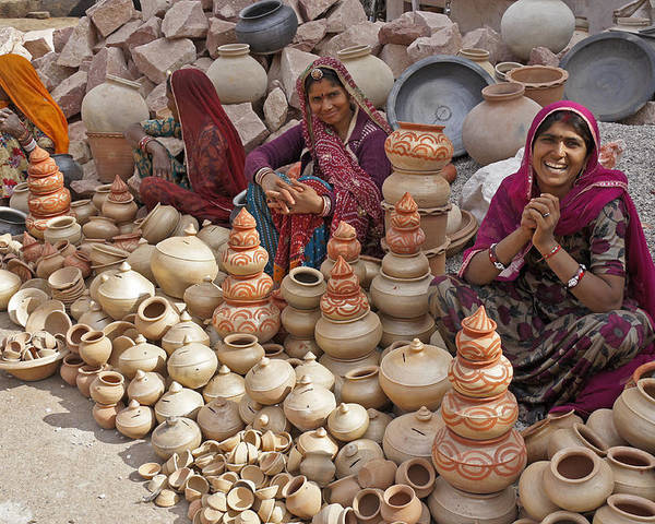 India Poster featuring the photograph Indian Women Selling Pottery by Michele Burgess