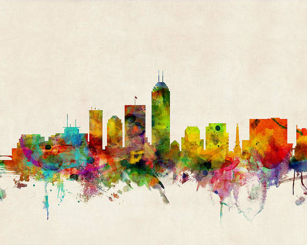 Watercolour Poster featuring the digital art Indianapolis Indiana Skyline by Michael Tompsett