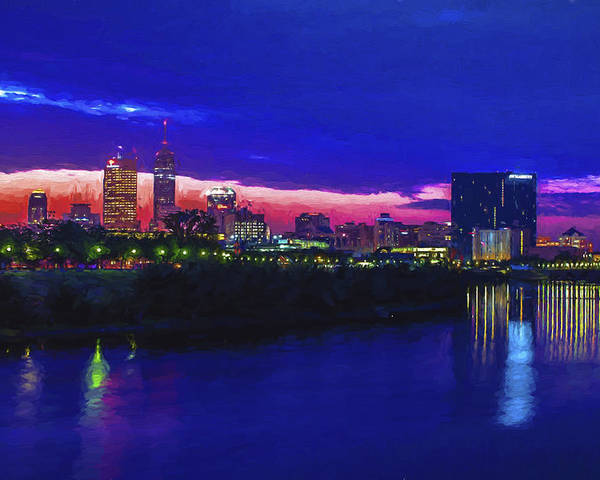 indianapolis indiana skyline sunrise digitally painted poster by