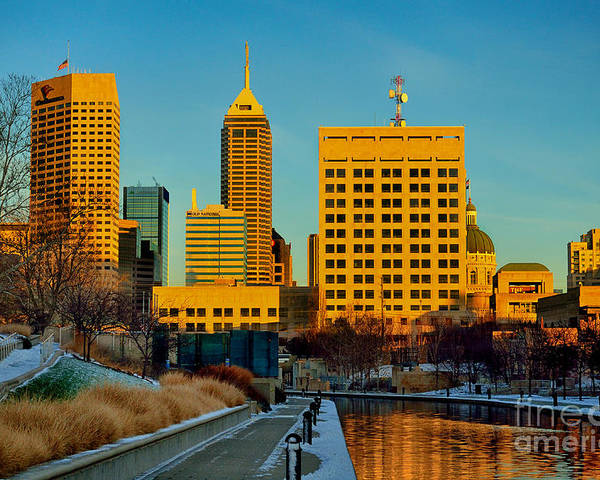 Indianapolis Poster featuring the photograph Indianapolis Skyline Dynamic by David Haskett