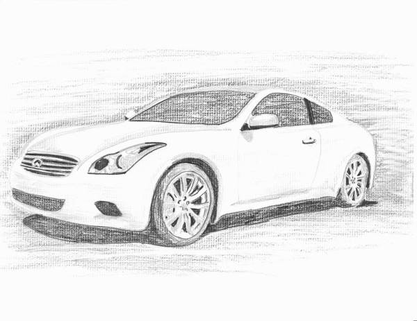 Pencil Drawings Poster featuring the drawing Infinity G37 Coupe by John Jones