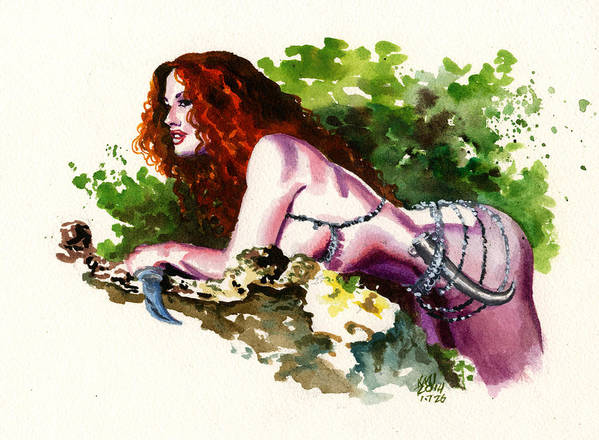 Woman Poster featuring the painting Inktober 26 Forest Muse by Ken Meyer