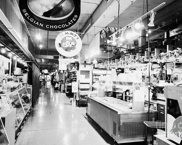 Lonsdale Poster featuring the photograph inside lonsdale quay market shopping mall north Vancouver BC Canada by Joe Fox