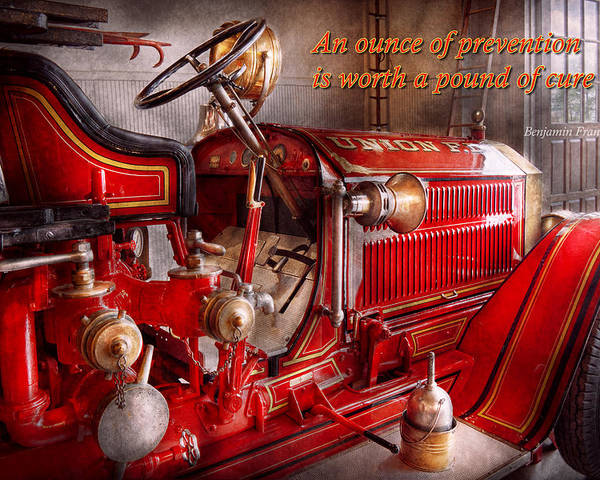 Fireman Poster featuring the photograph Inspiration - Truck - Waiting For A Call by Mike Savad