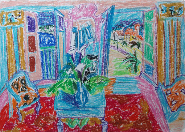 Interior A La Nice Poster featuring the drawing Interior A La Nice by Esther Newman-Cohen
