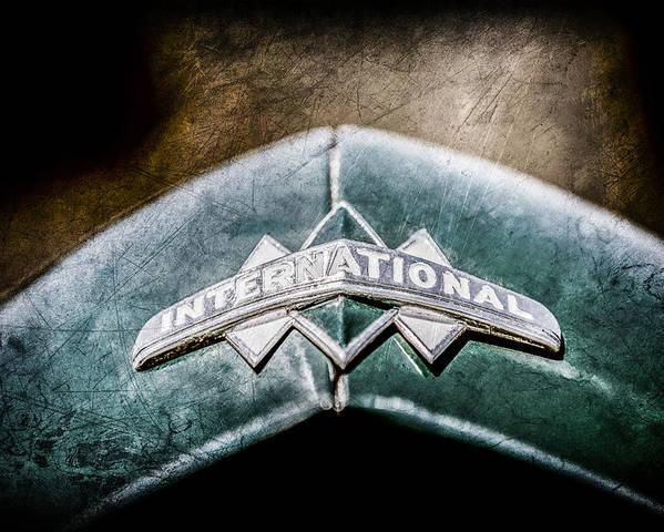 International Grille Emblem Poster featuring the photograph International Grille Emblem -0741ac by Jill Reger