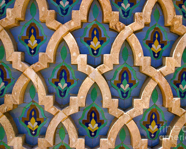 Zelij Poster featuring the photograph Intricate Zelji at the Hassan II Mosque Sour Jdid Casablanca Morocco by PIXELS XPOSED Ralph A Ledergerber Photography