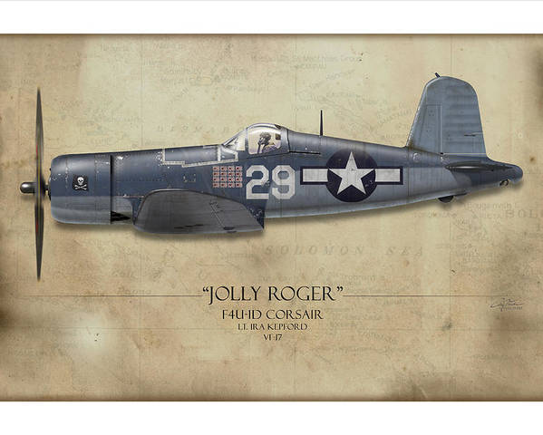 Aviation Poster featuring the painting Ira Kepford F4u Corsair - Map Background by Craig Tinder