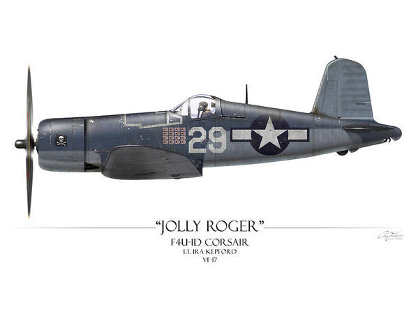 Aviation Poster featuring the painting Ira Kepford F4u Corsair - White Background by Craig Tinder