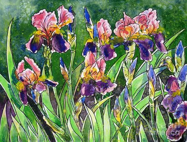 Iris Poster featuring the painting Iris Inspiration by Zaira Dzhaubaeva