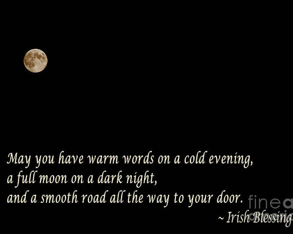 Irish Blessing Poster featuring the photograph Irish Blessing 3 - Full Moon - Greeting by Barbara Griffin