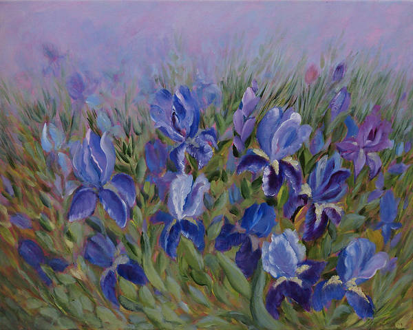 Spring Poster featuring the painting Irises by Joanne Smoley