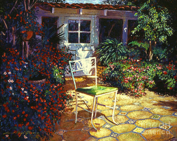 Garden Poster featuring the painting Iron Patio Chair by David Lloyd Glover