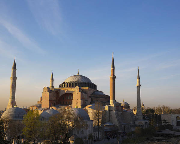 Outdoors Poster featuring the photograph Islamic Mosque At Sunset Istanbul by Mark Thomas