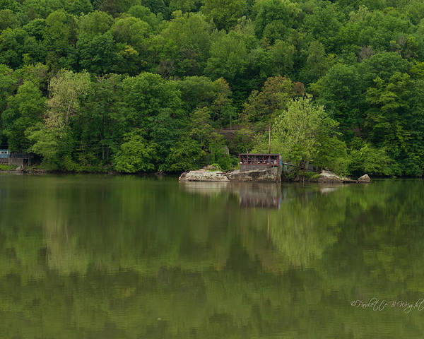 Feature Art Poster featuring the photograph Island House On New River - West Virginia by Paulette B Wright