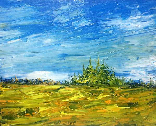Landscape Abstract Canadian Impressionist Group Of Seven Poster featuring the painting Island Of Pines - Interlake Field by Desmond Raymond