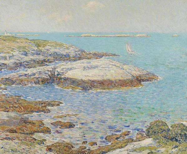 New England; America; American; Landscape; View; Coast; Coastal; Seascape; Us; Usa; United States; New Hampshire; Maine; Summer; Summertime; Isles Of Shoals; Island; Islands; Sailing Boat; Sails; Lighthouse; Rocks; Rocky; Shore; Shoreline; Impressionism; Impressionist; Sea Poster featuring the painting Isles Of Shoals by Childe Hassam