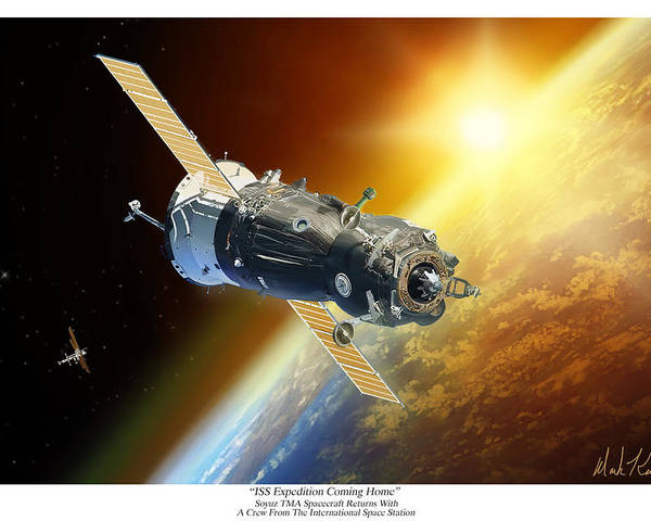 Soyuz Tma Poster featuring the painting ISS Expedition Coming Home by Mark Karvon