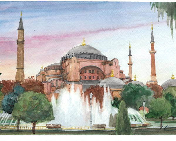 <a Href=http://miketheuer.com Target =_blank>www.miketheuer.com</a> Istanbul Mosque Watercolor Painting Poster featuring the drawing Istanbul Mosque Watercolor Painting by Mike Theuer
