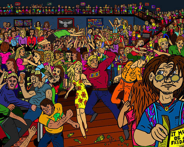 Nightclub Scene Poster featuring the drawing It Must Be Friday by Karen Elzinga