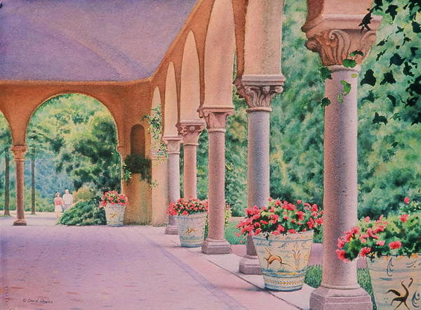 Watercolor Poster featuring the painting Italian Pavilion by Daniel Dayley