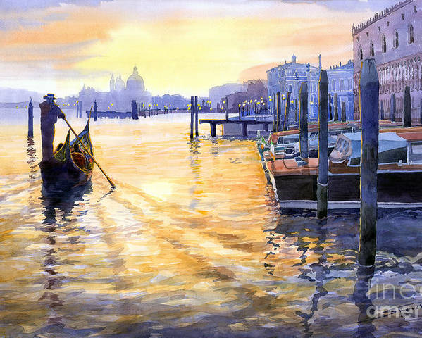 Watercolor Poster featuring the painting Italy Venice Dawning by Yuriy Shevchuk