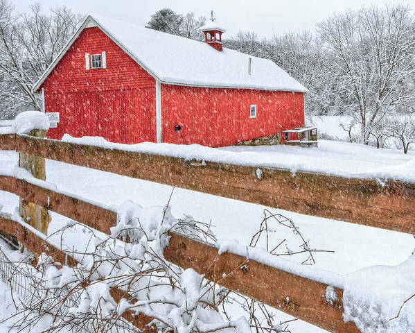Old Red Barn Poster featuring the photograph It's Snowing by Bill Wakeley