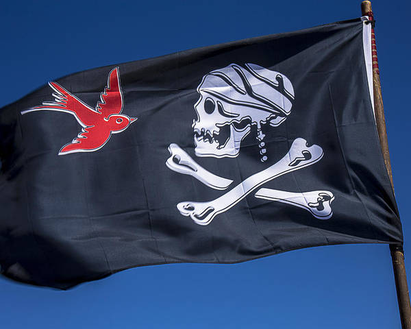 Jack Sparrow Poster featuring the photograph Jack Sparrow Pirate Skull Flag by Garry Gay