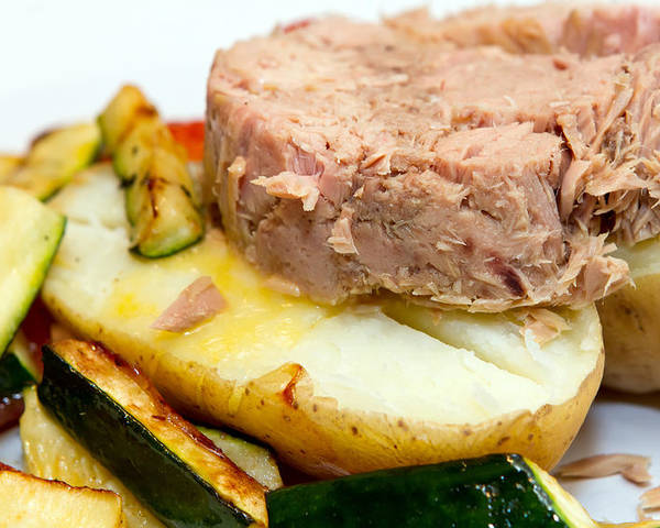 Baked Poster featuring the photograph Jacket Potato With Tuna Filling by Fizzy Image